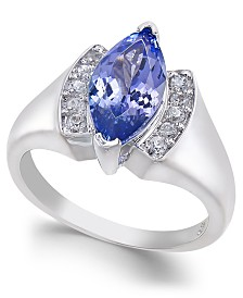 Tanzanite (1-9/10 ct. t.w.) & Diamond (1/10 ct. t.w.) Marquise Ring in 14k White Gold