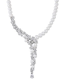 "Cultured Freshwater Pearl (5-1/2 - 9-1/2mm) & Swarovski Zirconia 17"" Statement Necklace in Sterling Silver, Created for Macy's"
