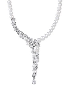 "Arabella Cultured Freshwater Pearl (5-1/2 - 9-1/2mm) & Swarovski Zirconia 17"" Statement Necklace in Sterling Silver, Created for Macy's"