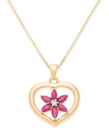 """Ruby (5/8 ct. t.w.) & Diamond Accent Heart 18"""" Pendant Necklace in 14k Gold"""