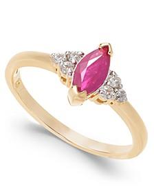 Ruby (3/4 ct. t.w.) & Diamond (1/8 ct. t.w.) Ring in 14k Gold