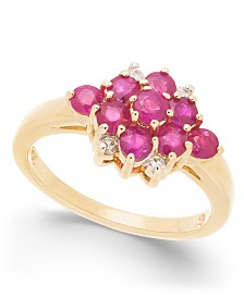 Ruby (1-1/3 ct. t.w) & Diamond Accent Cluster Ring in 14k Gold
