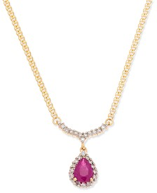 "Ruby (9/10 ct. t.w.) & Diamond (1/4 ct. t.w.) 16"" Pendant Necklace in 14k Gold"