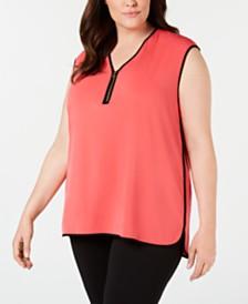 Calvin Klein Plus Size Piped-Trim Top