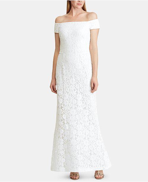 Lauren Ralph Lauren Lace Off-The-Shoulder Gown