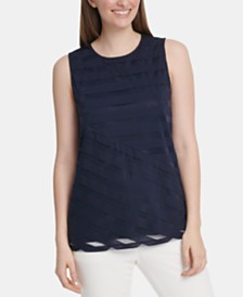 DKNY Striped Asymmetrical Top