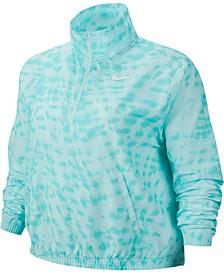 Plus Size Dri-FIT Printed Half-Zip Running Jacket