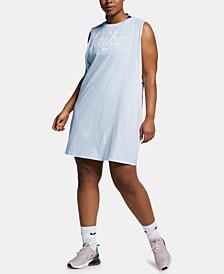 Plus Size Sportswear Cotton Logo Sleeveless Dress