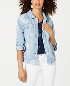 Style & Co Floral-Print Denim Jacket, Created for Macy's