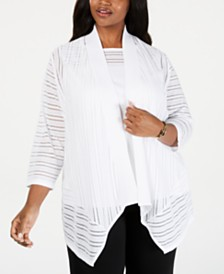 Kasper Plus Size Sheer-Stripe Waterfall Cardigan
