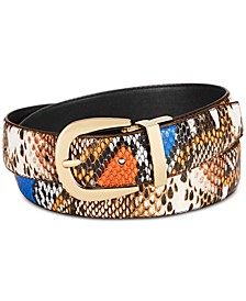 Multi Colored Faux Leather Python Belt