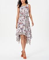 56c372c1581 Robbie Bee Petite Printed Handkerchief-Hem A-line Dress