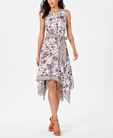 Robbie Bee Petite Printed Handkerchief-Hem A-line Dress