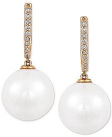 Cultured White Ming Pearl (12mm) & Diamond (1/8 ct. t.w.) Drop Earrings in 14k Gold
