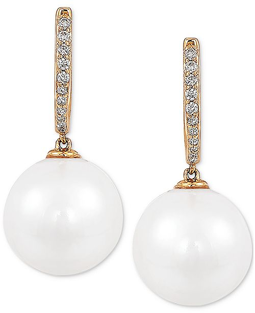 Honora Cultured White Ming Pearl (12mm) & Diamond (1/8 ct. t.w.) Drop Earrings in 14k Gold