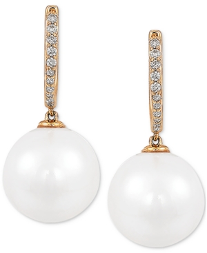 Cultured White Ming Pearl (12mm) & Diamond (1/8 ct. t.w.) Drop Earrings in 14k Gold