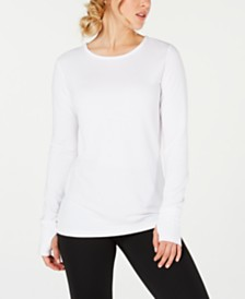 Ideology Crochet-Back Long-Sleeve Top, Created for Macy's