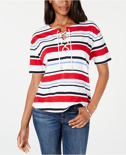 Tommy Hilfiger Lace-Up Striped Cotton Top, Created for Macy's