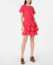 Michael Michael Kors Textured Tiered-Ruffle Dress