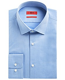 HUGO Men's Slim-Fit Teal Textured Solid Dress Shirt