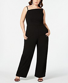 Trendy Plus Size Asymmetrical-Neckline Jumpsuit