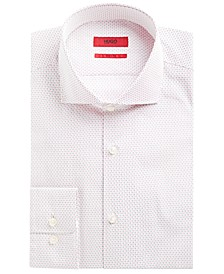 HUGO Men's Slim-Fit Red & Navy Dot Dress Shirt
