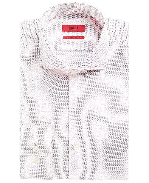 Hugo Boss HUGO Men's Slim-Fit Red & Navy Dot Dress Shirt