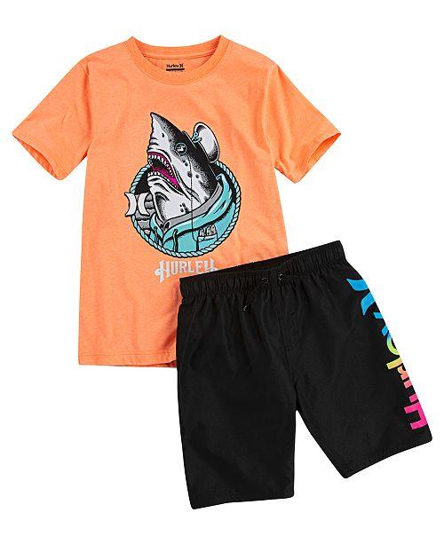 Hurley Toddler & Little Boys One And Only Shark Shanty T-Shirt & Logo Swim Trunks