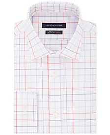Men's Fitted Flex Stretch Moisture-Wicking Check Dress Shirt