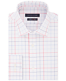Tommy Hilfiger Men's Fitted Flex Stretch Moisture-Wicking Check Dress Shirt