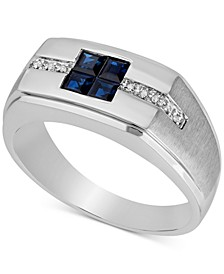 Men's Blue Sapphire (3/4 ct. t.w.) & Diamond Accent Ring in 10k White Gold