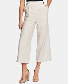 CeCe Button-Trim Cropped Wide-Leg Pants