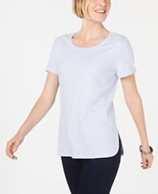 Karen Scott Shirttail-Hem Short Sleeve Top, Created for Macy's