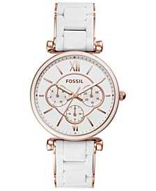 Women's Carlie White Silicone & Rose Gold-Tone Stainless Steel Bracelet Watch 38mm