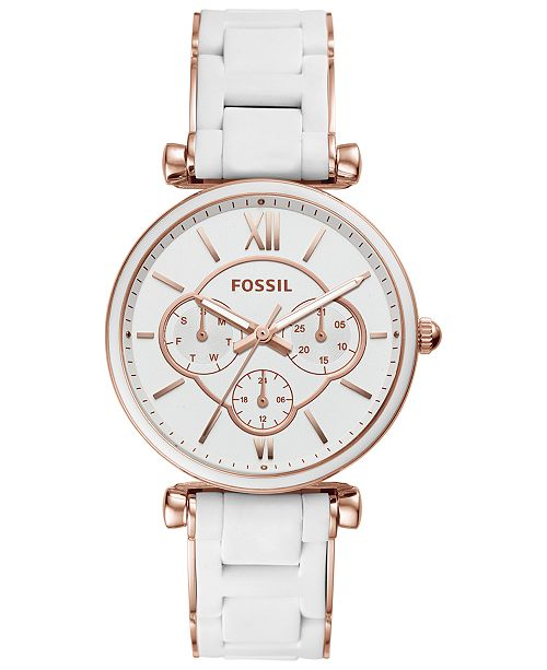 Fossil Women's Carlie White Silicone & Rose Gold-Tone Stainless Steel Bracelet Watch 38mm