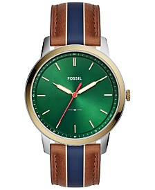 Fossil Men's Minimalist Brown Striped Leather Strap Watch 44mm