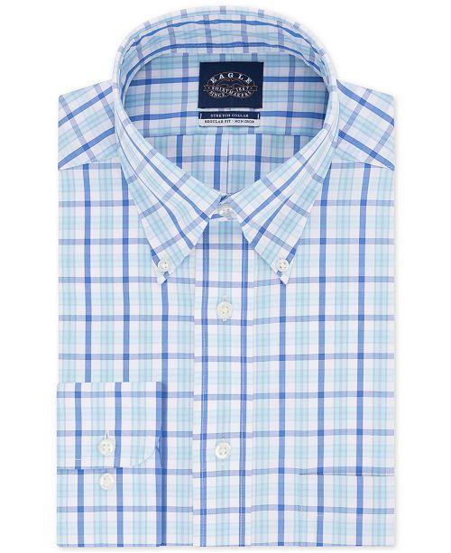 Eagle Men's Big & Tall Classic/Regular-Fit Non-Iron Blue Check Dress Shirt