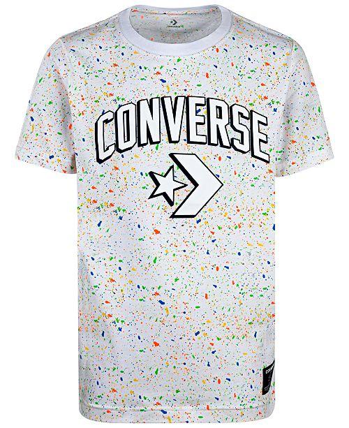 Converse Big Boys Splatter-Print Logo T-Shirt
