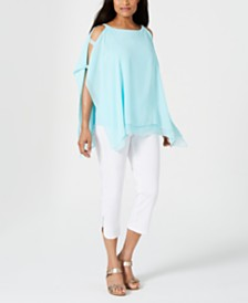 JM Collection Layered Embellished Poncho Top, Created for Macy's