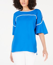Alfani Petite Piped Flutter-Sleeve Top, Created for Macy's