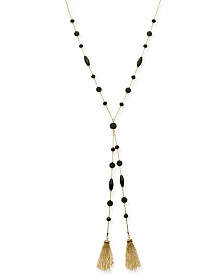 "I.N.C. Gold-Tone Bead & Tassel Lariat Necklace, 28"" + 3"" extender, Created for Macy's"