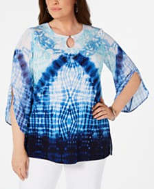 JM Collection Plus Size Tie Dye Studded Keyhole Top, Created for Macy's