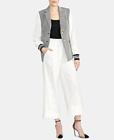 RACHEL Rachel Roy Mixed-Media Colorblocked Jacket