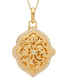 Maggie White Topaz (1 ct. t.w.) Photo Locket Necklace in 14k Yellow Gold over Sterling Silver