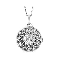 Elaine Photo Locket Necklace with Diamond Accent in Sterling Silver
