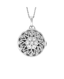 With You Lockets Elaine Photo Locket Necklace with Diamond Accent in Sterling Silver