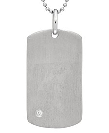 Henry White Topaz (1/15 ct. t.w) Dog Tag Photo Locket Necklace in Sterling Silver