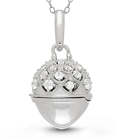 With You Lockets Jeannie White Topaz (2-1/2 ct. t.w) Photo Locket Necklace in Sterling Silver