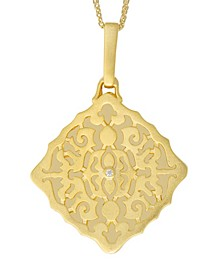 Mimi Diamond Accent Photo Locket Necklace in 14k Yellow Gold over Sterling Silver (Also Available in 14k Rose Gold over Sterling Silver and Sterling Silver)