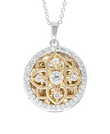 Elsie White Topaz (2-3/4) Photo Locket Necklace in 14k Yellow Gold over Sterling Silver